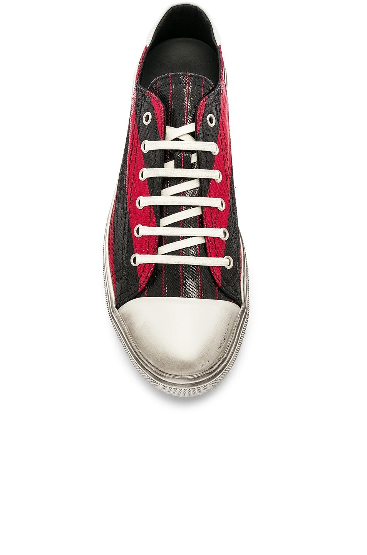 Image 4 of Saint Laurent Bedford Low Top Sneaker in Black & Lurex Red Stripe