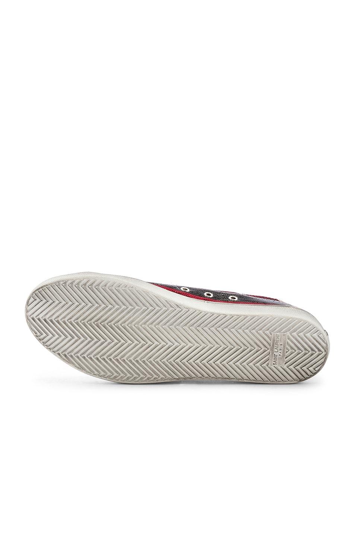 Image 6 of Saint Laurent Bedford Low Top Sneaker in Black & Lurex Red Stripe