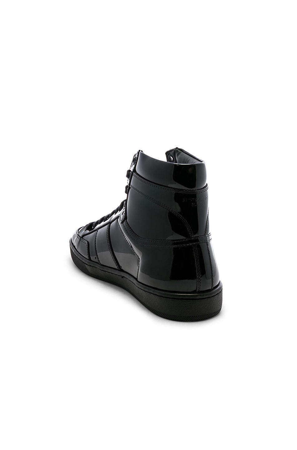 Image 3 of Saint Laurent Signature Court Classic SL/10H Leather Hi-Top Sneaker in Black & Black