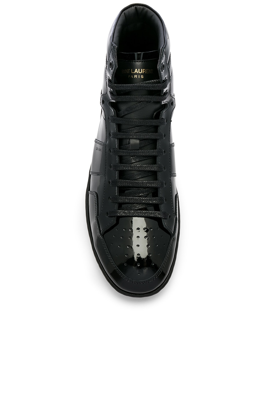 Image 4 of Saint Laurent Signature Court Classic SL/10H Leather Hi-Top Sneaker in Black & Black