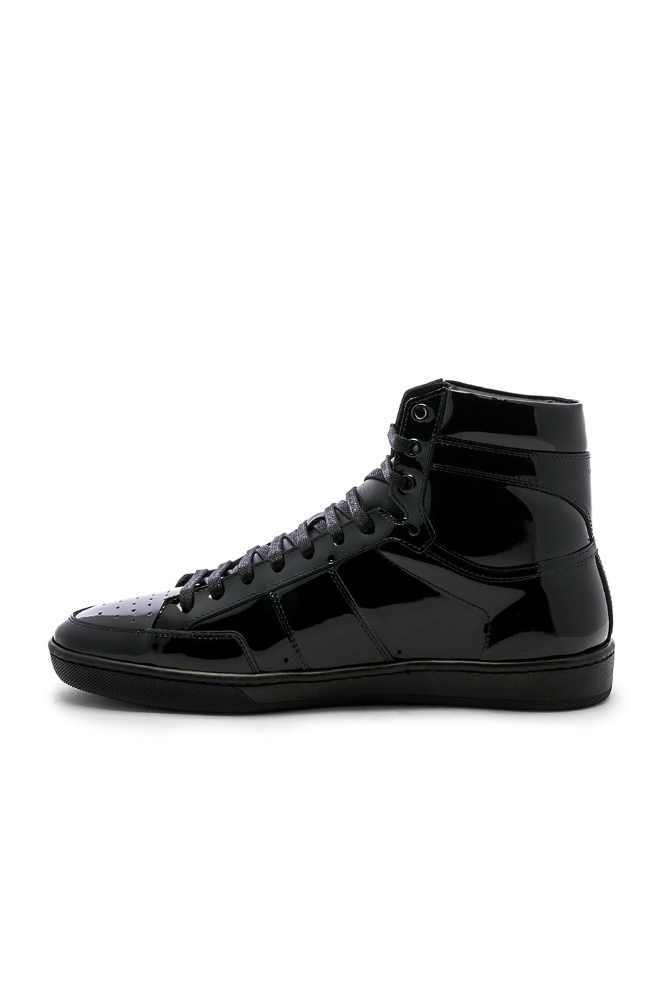 Image 5 of Saint Laurent Signature Court Classic SL/10H Leather Hi-Top Sneaker in Black & Black