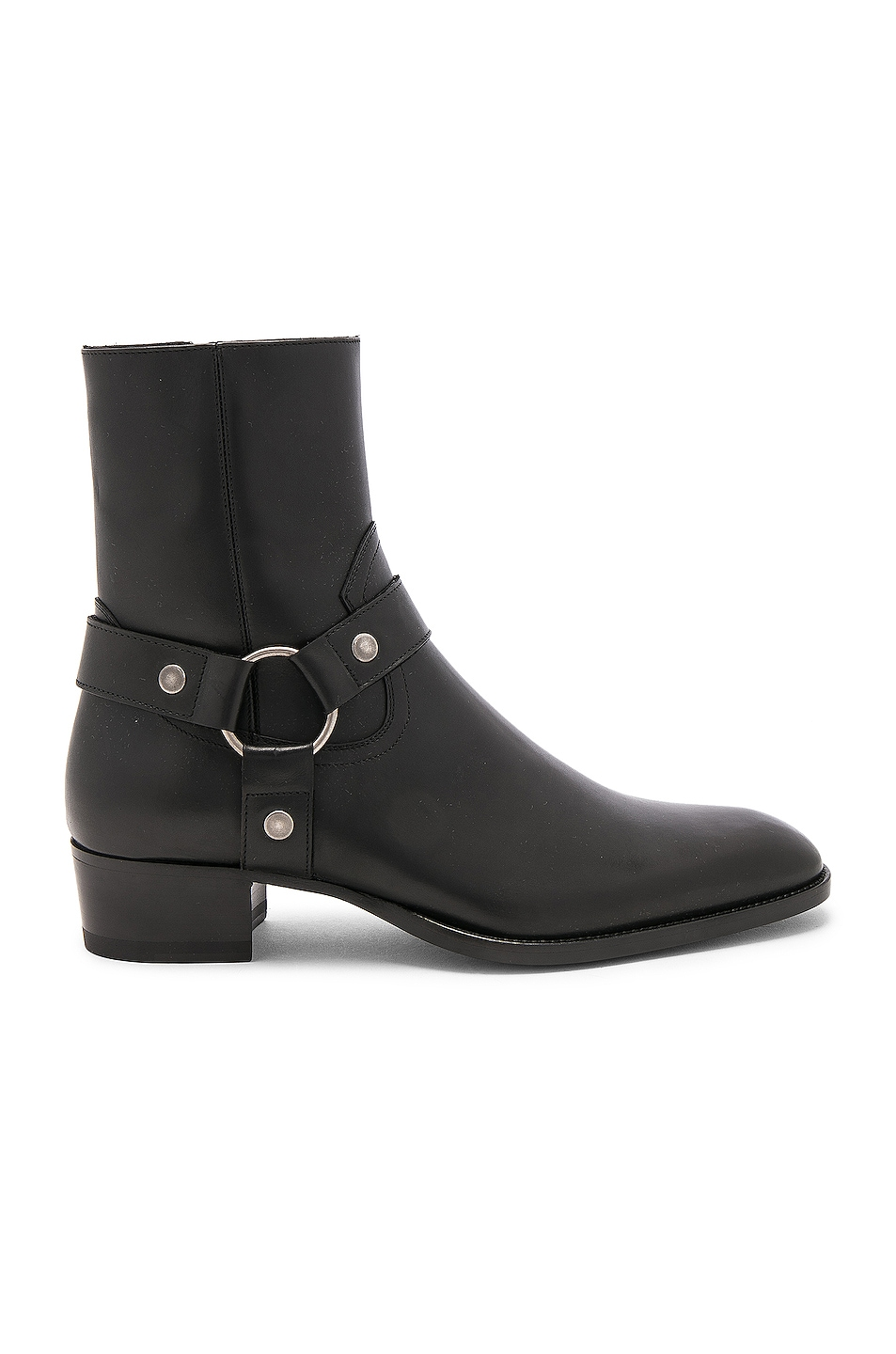 Image 1 of Saint Laurent Leather Wyatt Harness Boots in Black