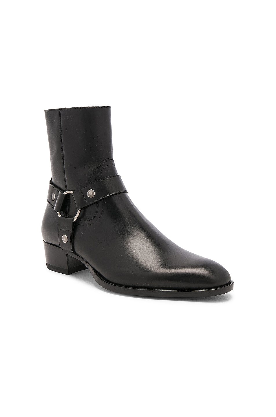 Image 2 of Saint Laurent Leather Wyatt Harness Boots in Black