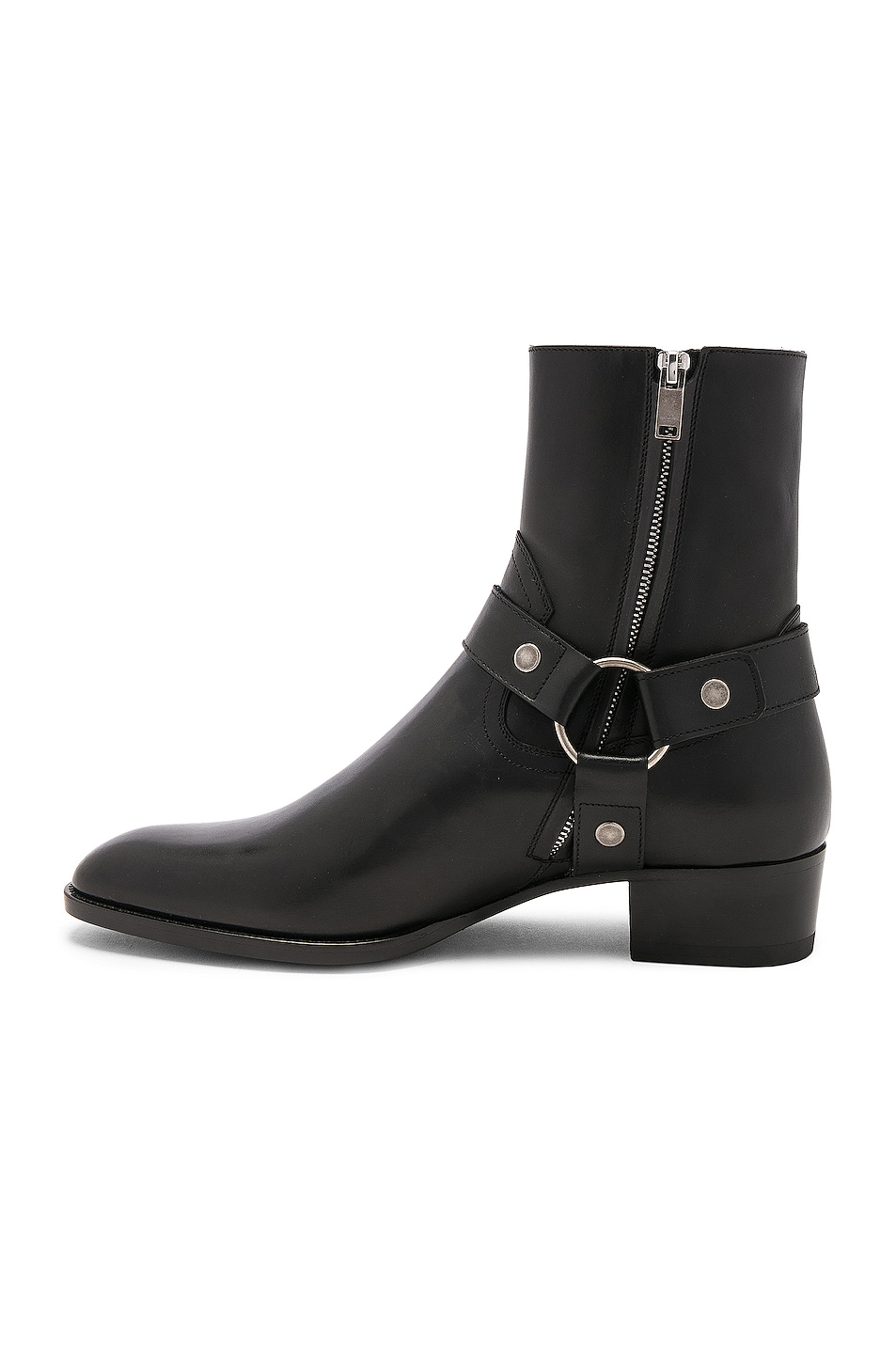 Image 5 of Saint Laurent Leather Wyatt Harness Boots in Black