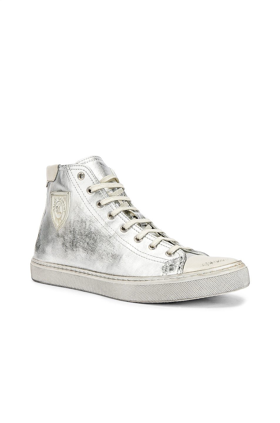 Image 2 of Saint Laurent Bedford Hi-Tops in Silver & White