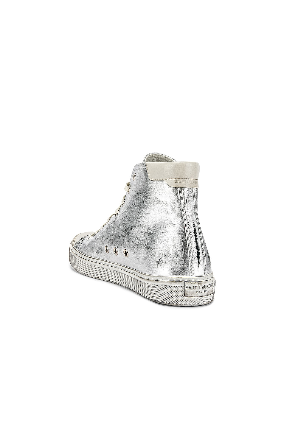 Image 3 of Saint Laurent Bedford Hi-Tops in Silver & White