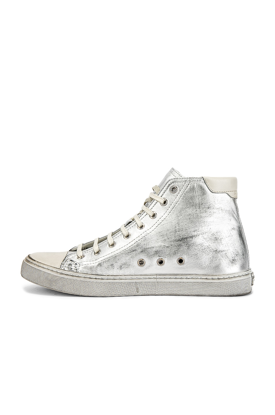 Image 5 of Saint Laurent Bedford Hi-Tops in Silver & White