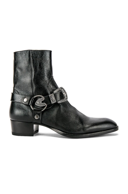 Image 1 of Saint Laurent Wyatt Harness Boots in Black