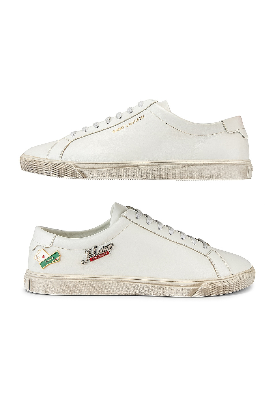 Image 6 of Saint Laurent Andy Low Tops in Optical White