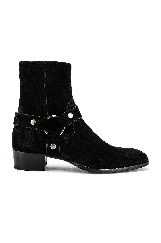 Image 1 of Saint Laurent Wyatt Suede Harness Boots in Black