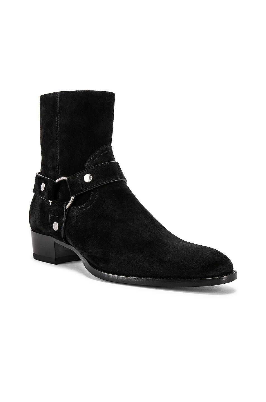 Image 2 of Saint Laurent Wyatt Suede Harness Boots in Black