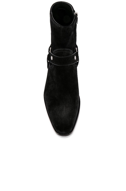Image 4 of Saint Laurent Wyatt Suede Harness Boots in Black