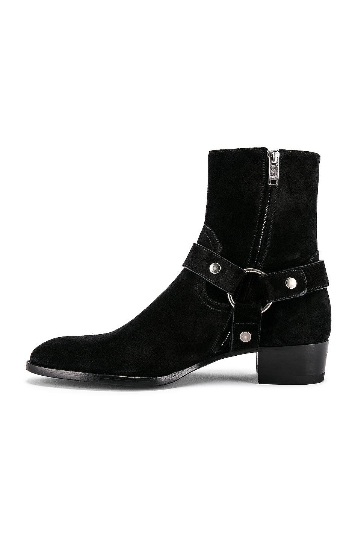 Image 5 of Saint Laurent Wyatt Suede Harness Boots in Black