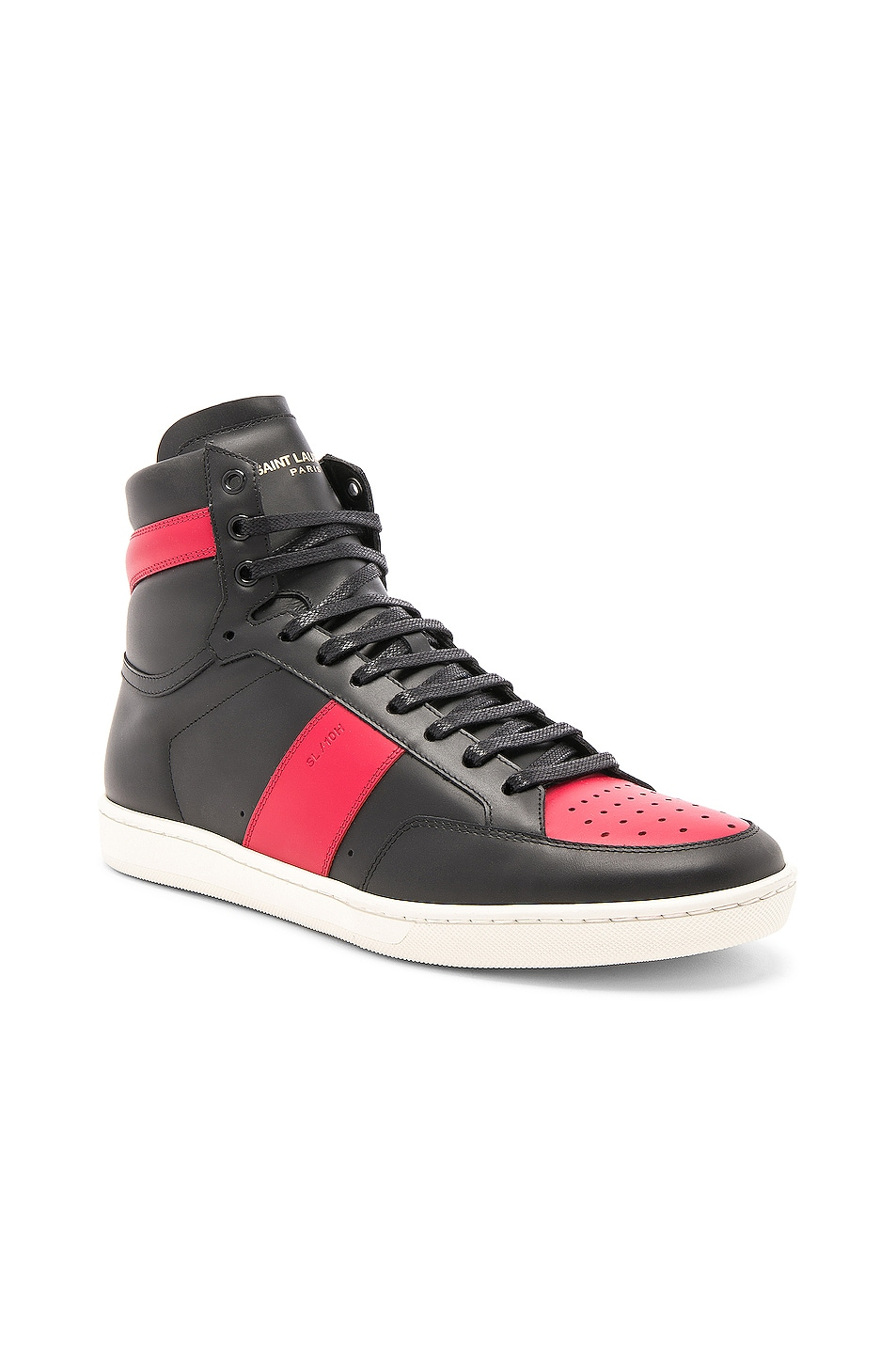 Image 2 of Saint Laurent Signature Court Classic SL/10H Leather High Top Sneakers in Black & Red