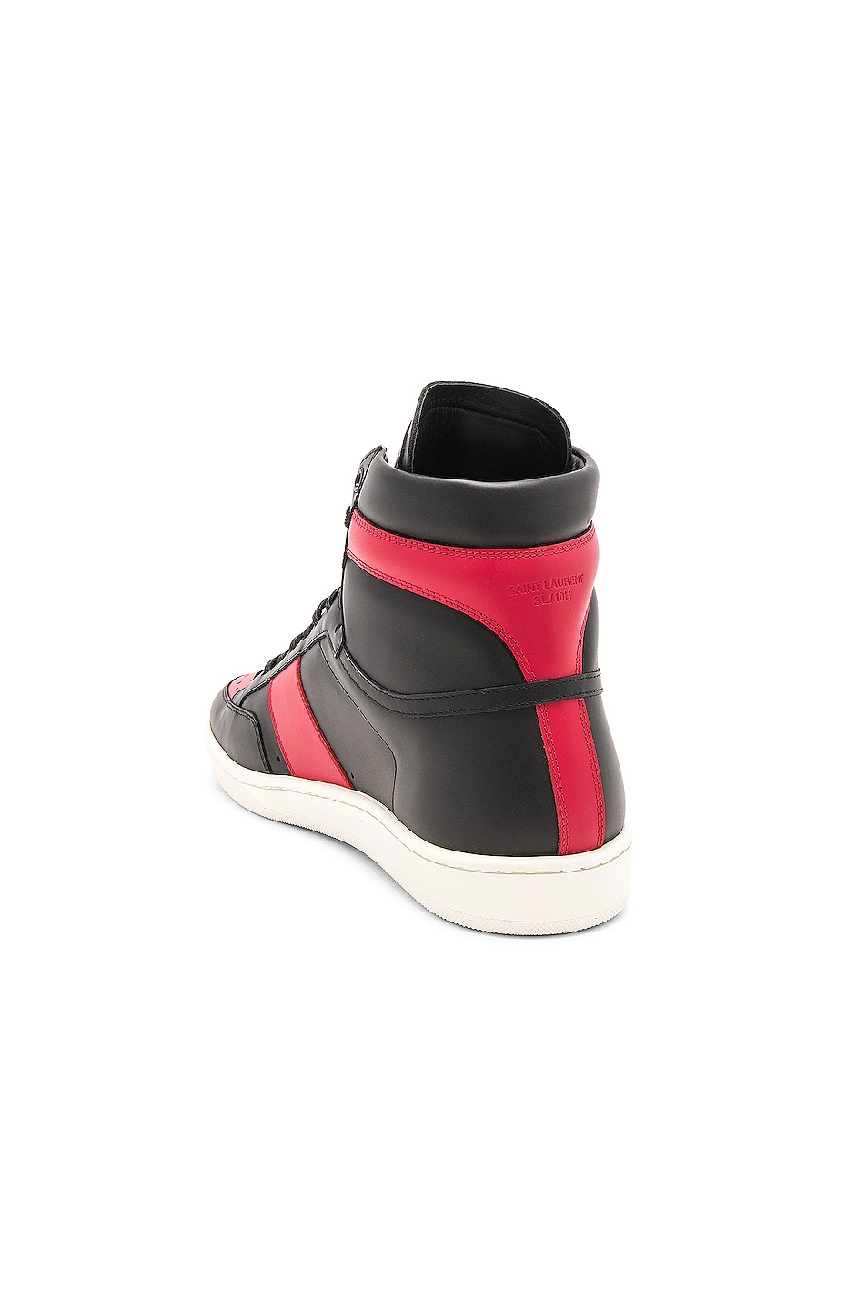 Image 3 of Saint Laurent Signature Court Classic SL/10H Leather High Top Sneakers in Black & Red