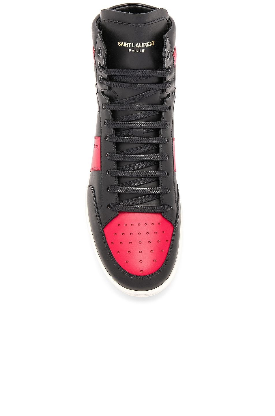 Image 4 of Saint Laurent Signature Court Classic SL/10H Leather High Top Sneakers in Black & Red