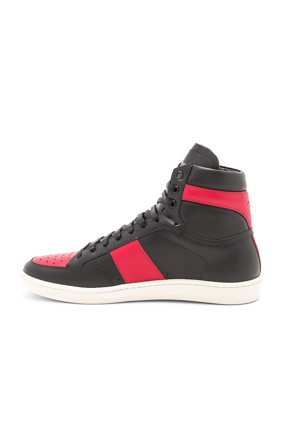 Image 5 of Saint Laurent Signature Court Classic SL/10H Leather High Top Sneakers in Black & Red