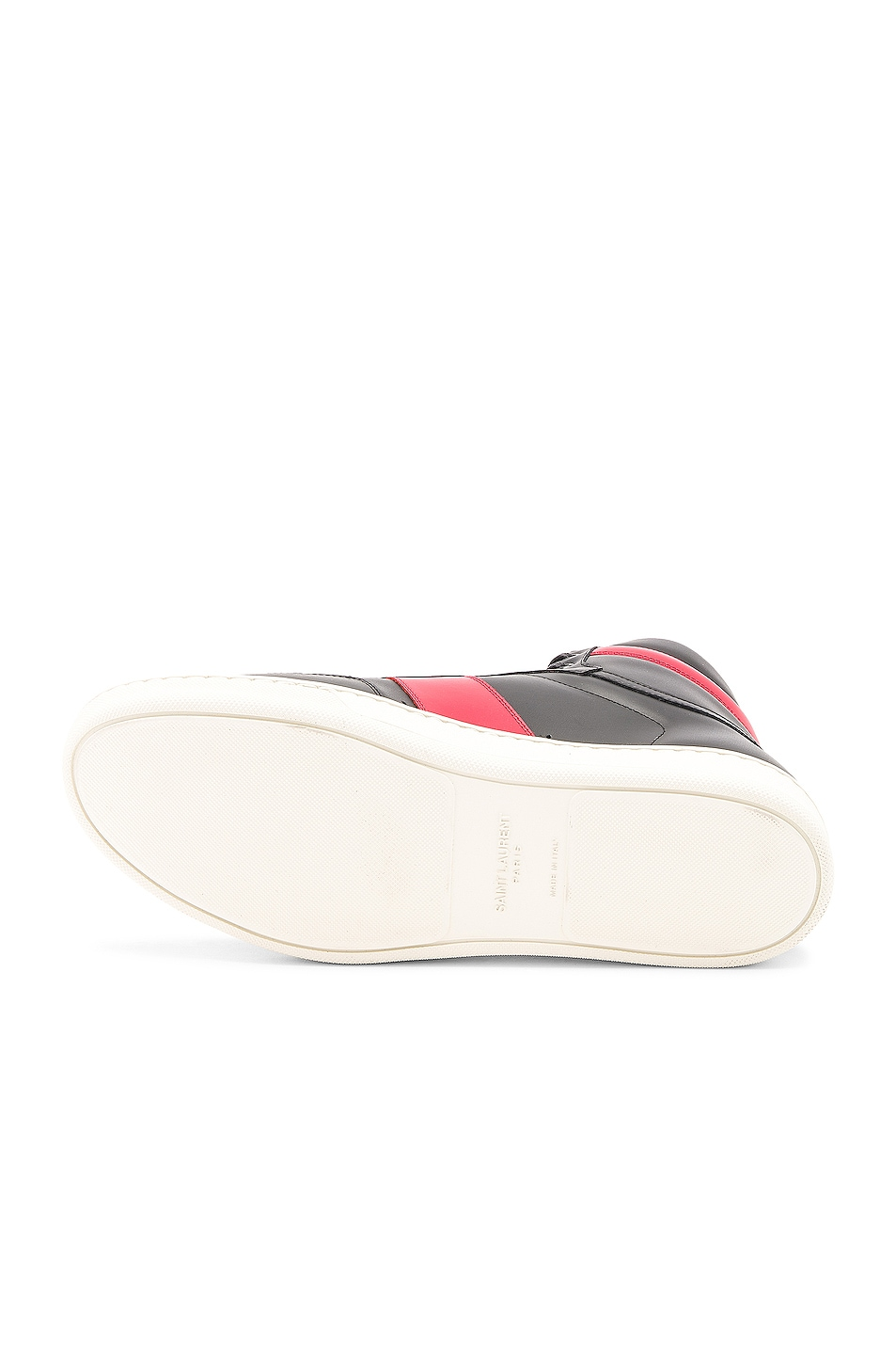 Image 6 of Saint Laurent Signature Court Classic SL/10H Leather High Top Sneakers in Black & Red