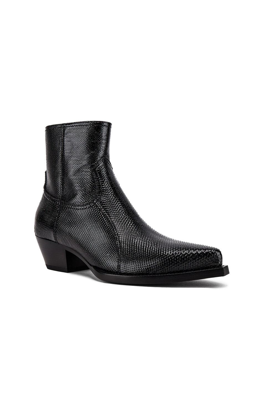 Image 1 of Saint Laurent Lukas Zipped Lizard Boot in Black