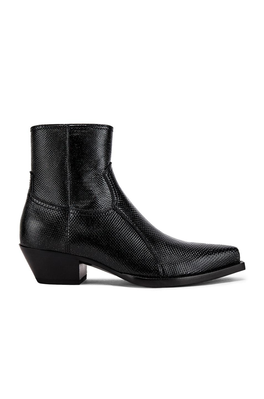 Image 2 of Saint Laurent Lukas Zipped Lizard Boot in Black