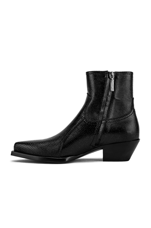 Image 5 of Saint Laurent Lukas Zipped Lizard Boot in Black