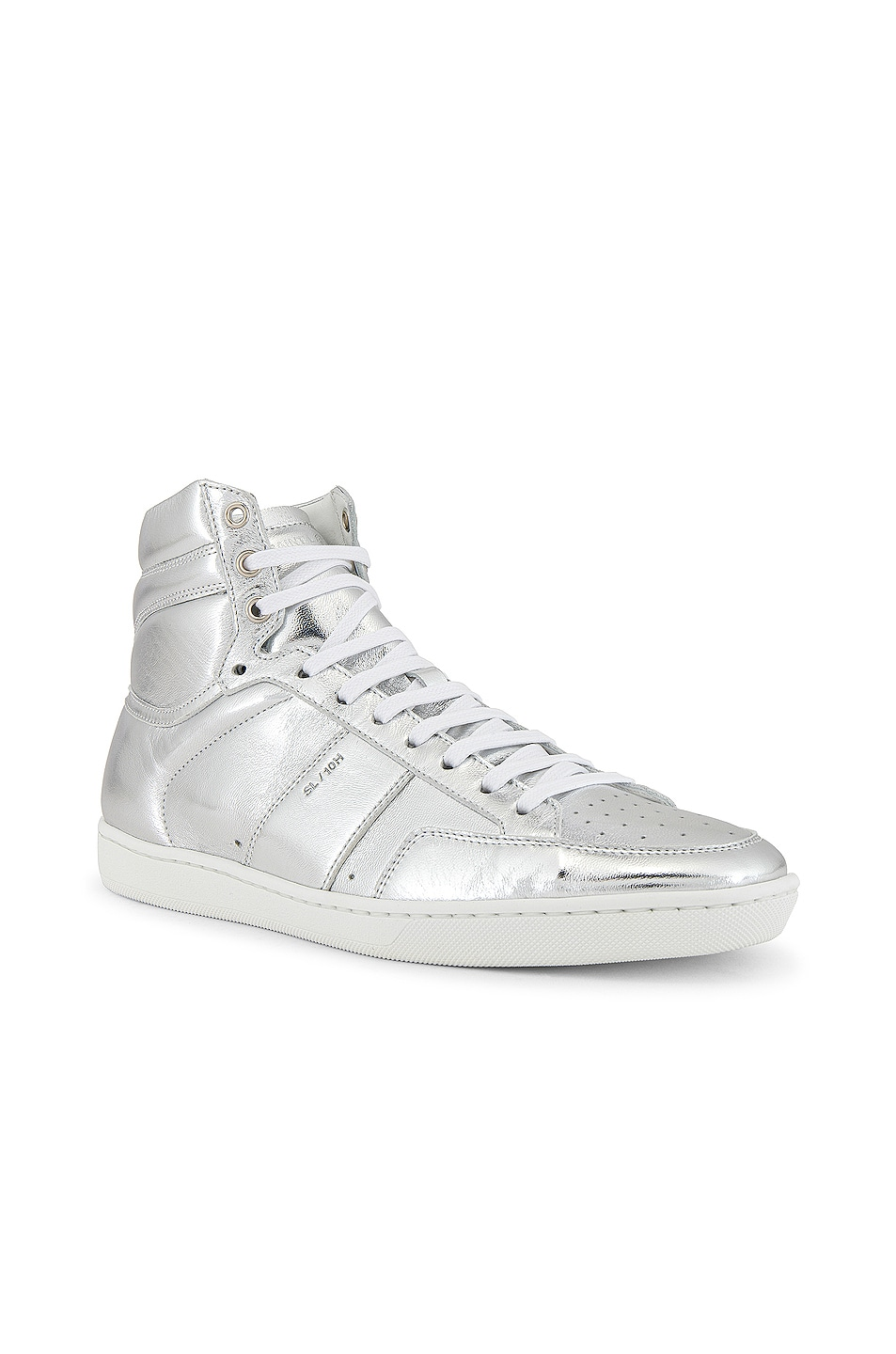 Image 1 of Saint Laurent Leather Up Sneaker in Silver