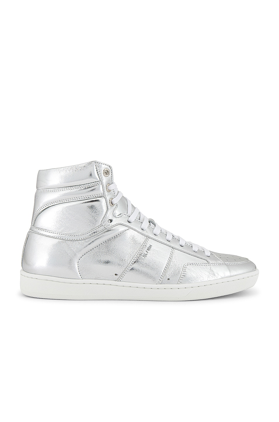 Image 2 of Saint Laurent Leather Up Sneaker in Silver