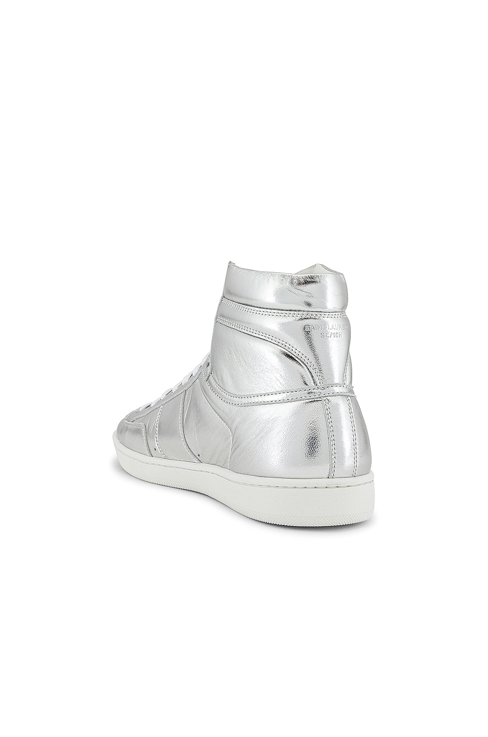 Image 3 of Saint Laurent Leather Up Sneaker in Silver