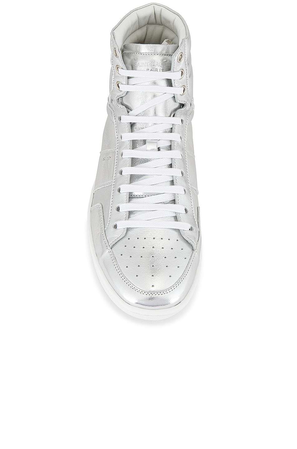 Image 4 of Saint Laurent Leather Up Sneaker in Silver