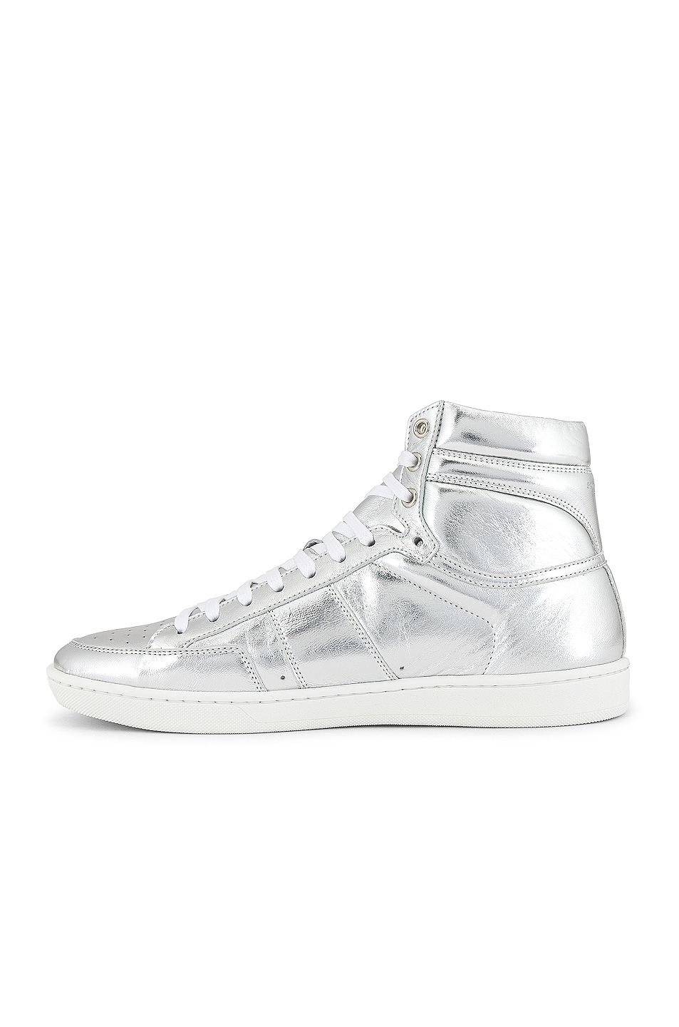 Image 5 of Saint Laurent Leather Up Sneaker in Silver