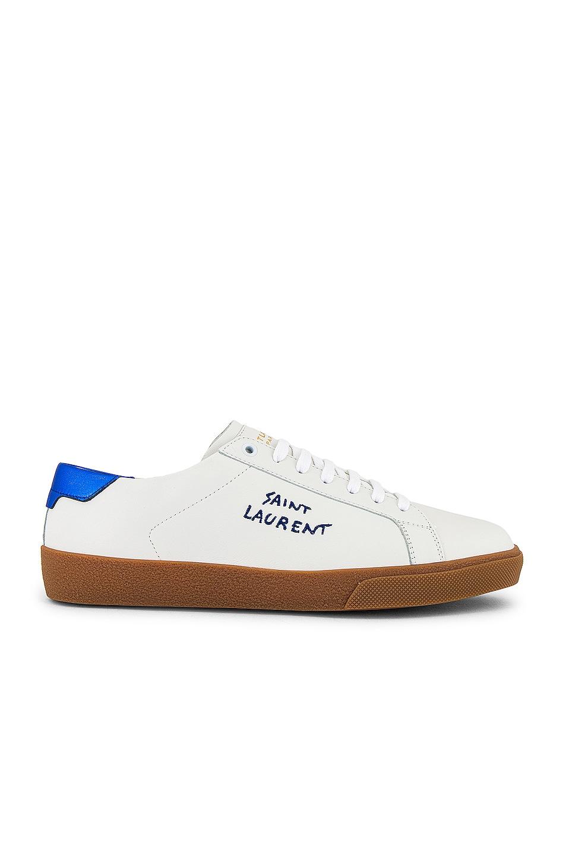 Image 2 of Saint Laurent SL06 Signa Low Top Sneaker in Black & Blue