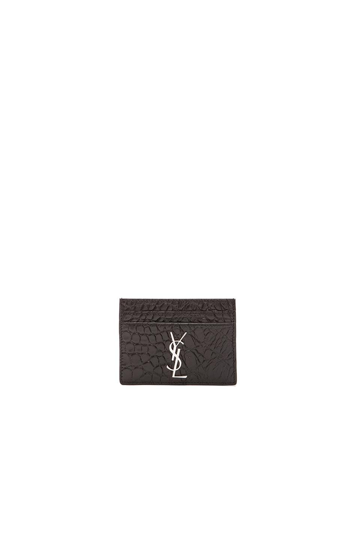 Image 1 of Saint Laurent Croco Embossed Credit Card Case in Black