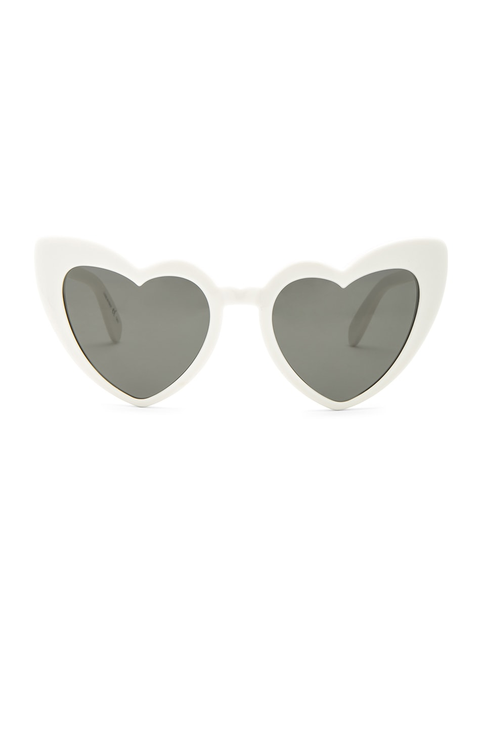 ccfdfc464e25a Image 1 of Saint Laurent Lou Lou Heart Sunglasses in White