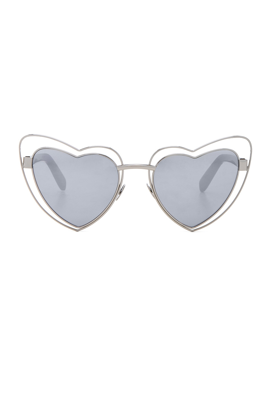 Image 1 of Saint Laurent Loulou Cut-Out Sunglasses in Silver