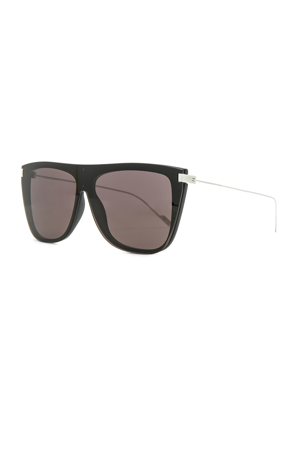 715c15f55526 Image 2 of Saint Laurent Bold Oversized Flat-Top Sunglasses in Black