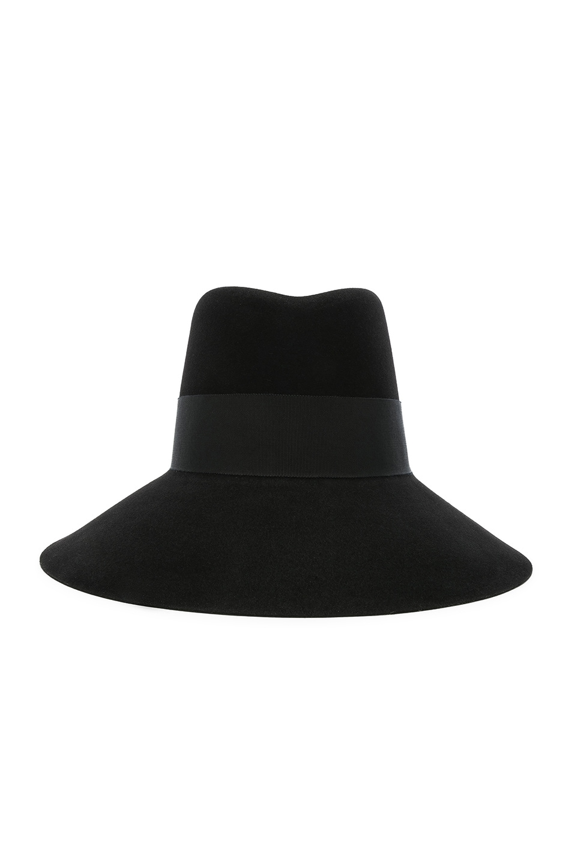 Image 1 of Saint Laurent Felt Wide Brim Hat in Black