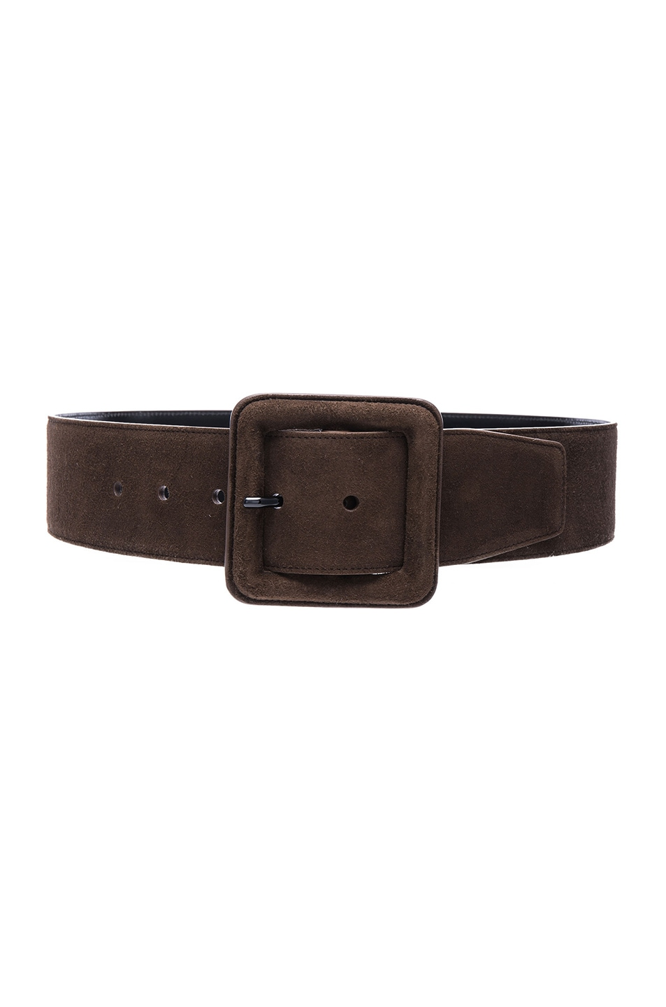 Image 1 of Saint Laurent Suede Buckle Belt in Cafe