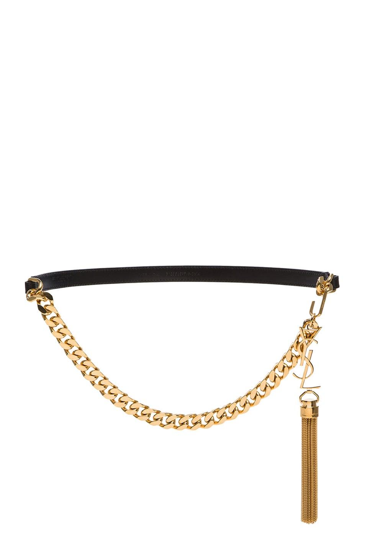 Image 1 of Saint Laurent Monogramme Tassel Belt in Black & Gold