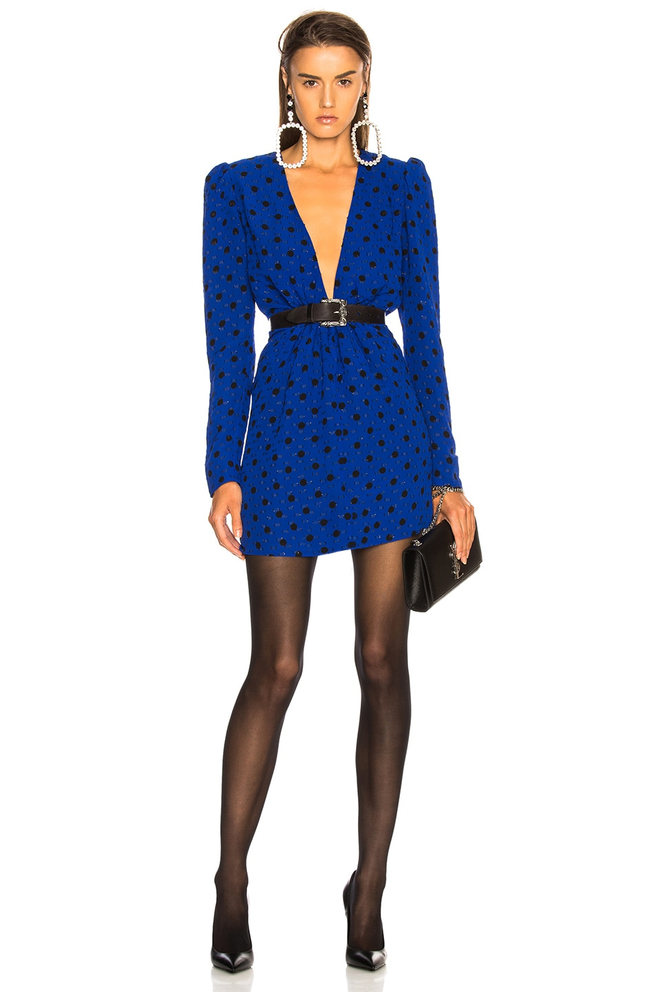 Image 1 of Saint Laurent Polka Dot Plunging Mini Dress in Blue & Black