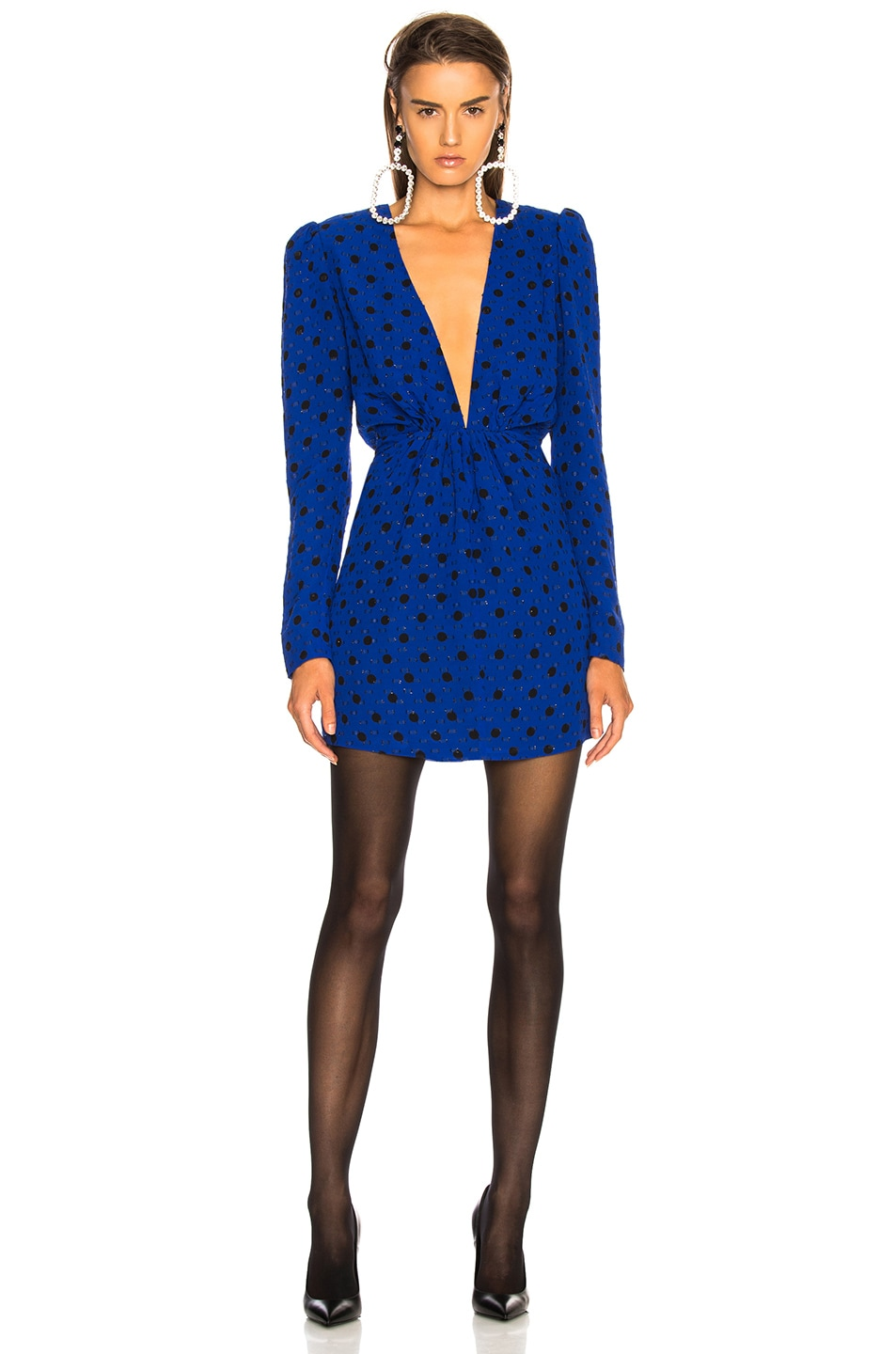 Image 2 of Saint Laurent Polka Dot Plunging Mini Dress in Blue & Black