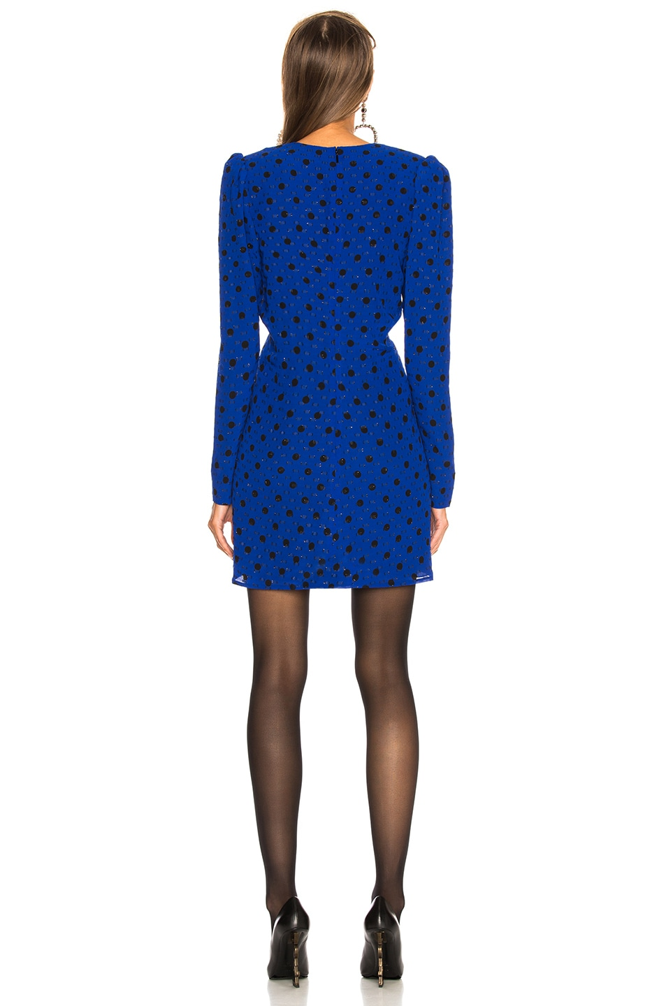 Image 4 of Saint Laurent Polka Dot Plunging Mini Dress in Blue & Black