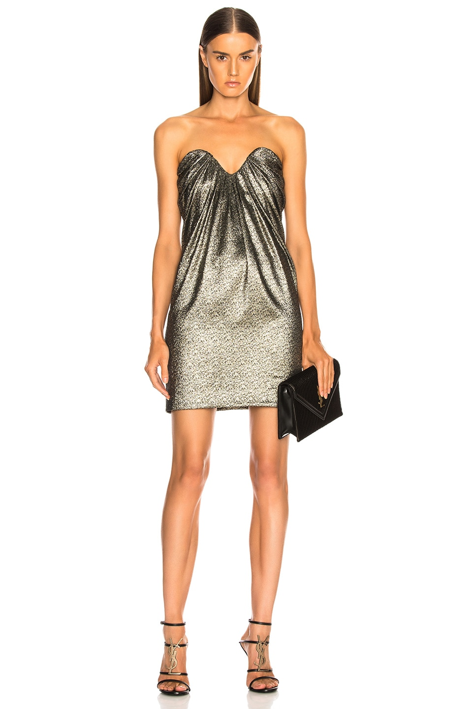 Image 1 of Saint Laurent Metallic Bustier Mini Dress in Black, Gold & Silver