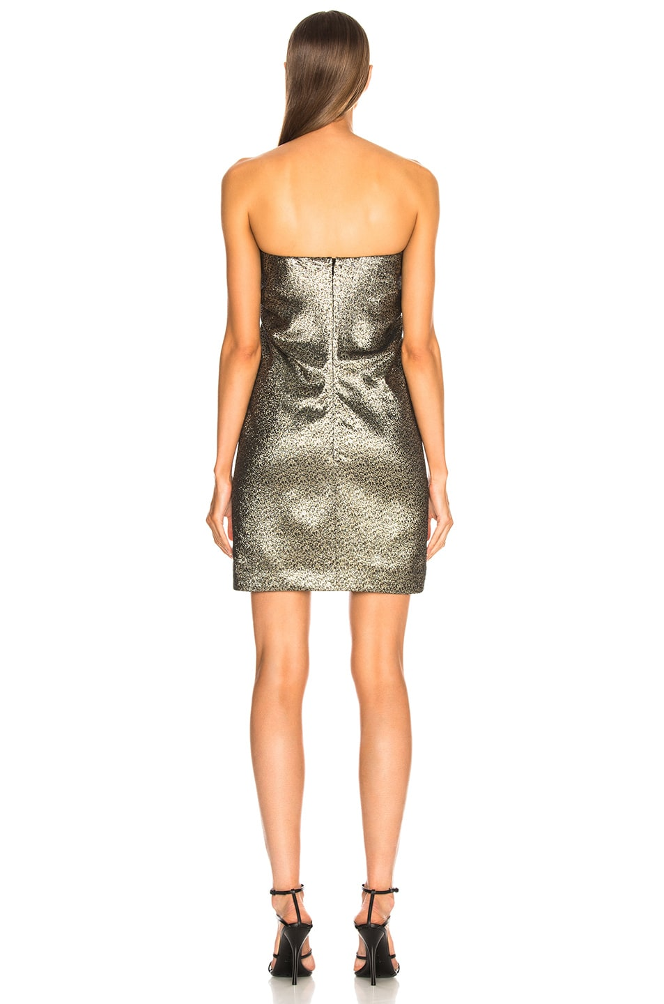 Image 3 of Saint Laurent Metallic Bustier Mini Dress in Black, Gold & Silver