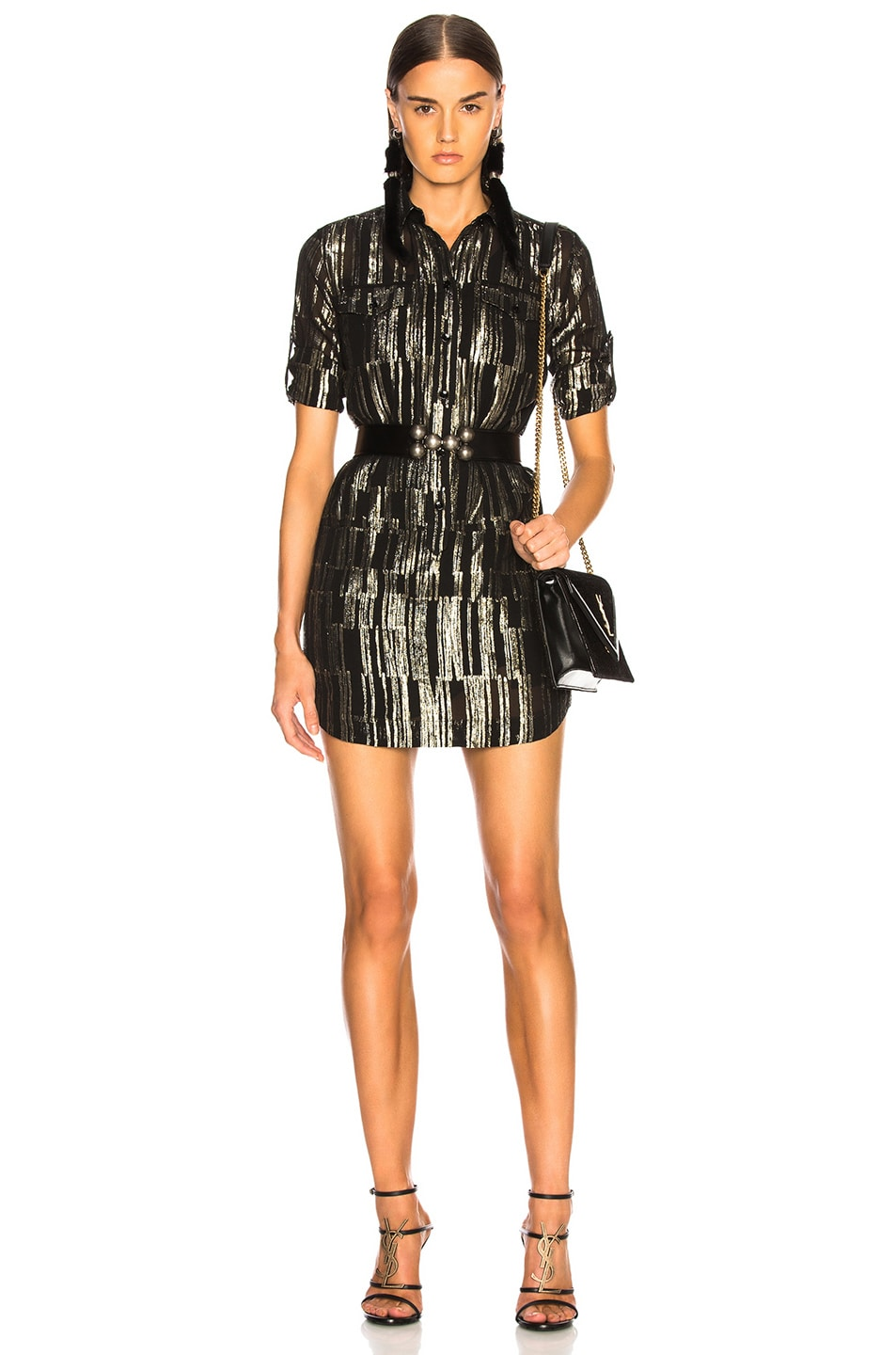 Image 1 of Saint Laurent Metallic Stripe Shirt Dress in Black, Gold & Silver