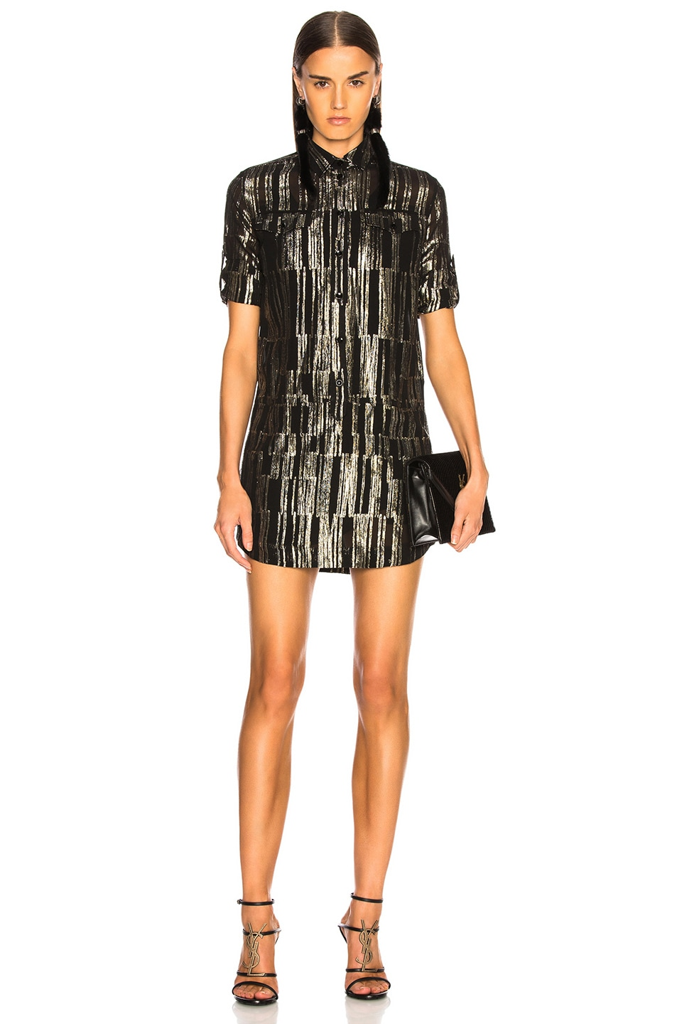 Image 2 of Saint Laurent Metallic Stripe Shirt Dress in Black, Gold & Silver