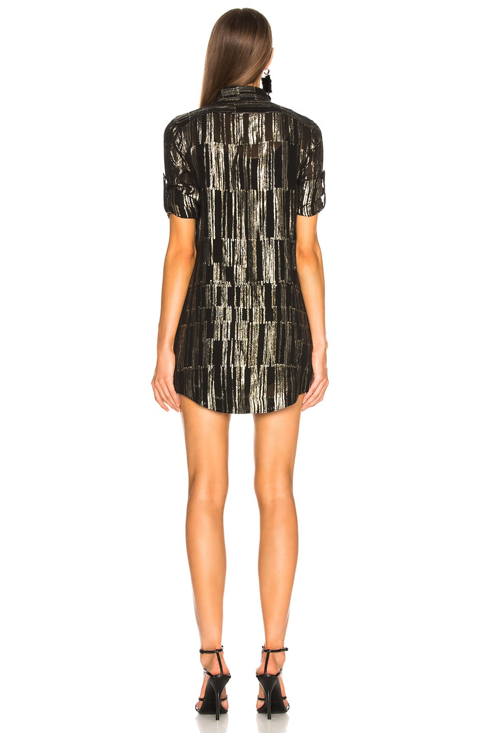 Image 4 of Saint Laurent Metallic Stripe Shirt Dress in Black, Gold & Silver