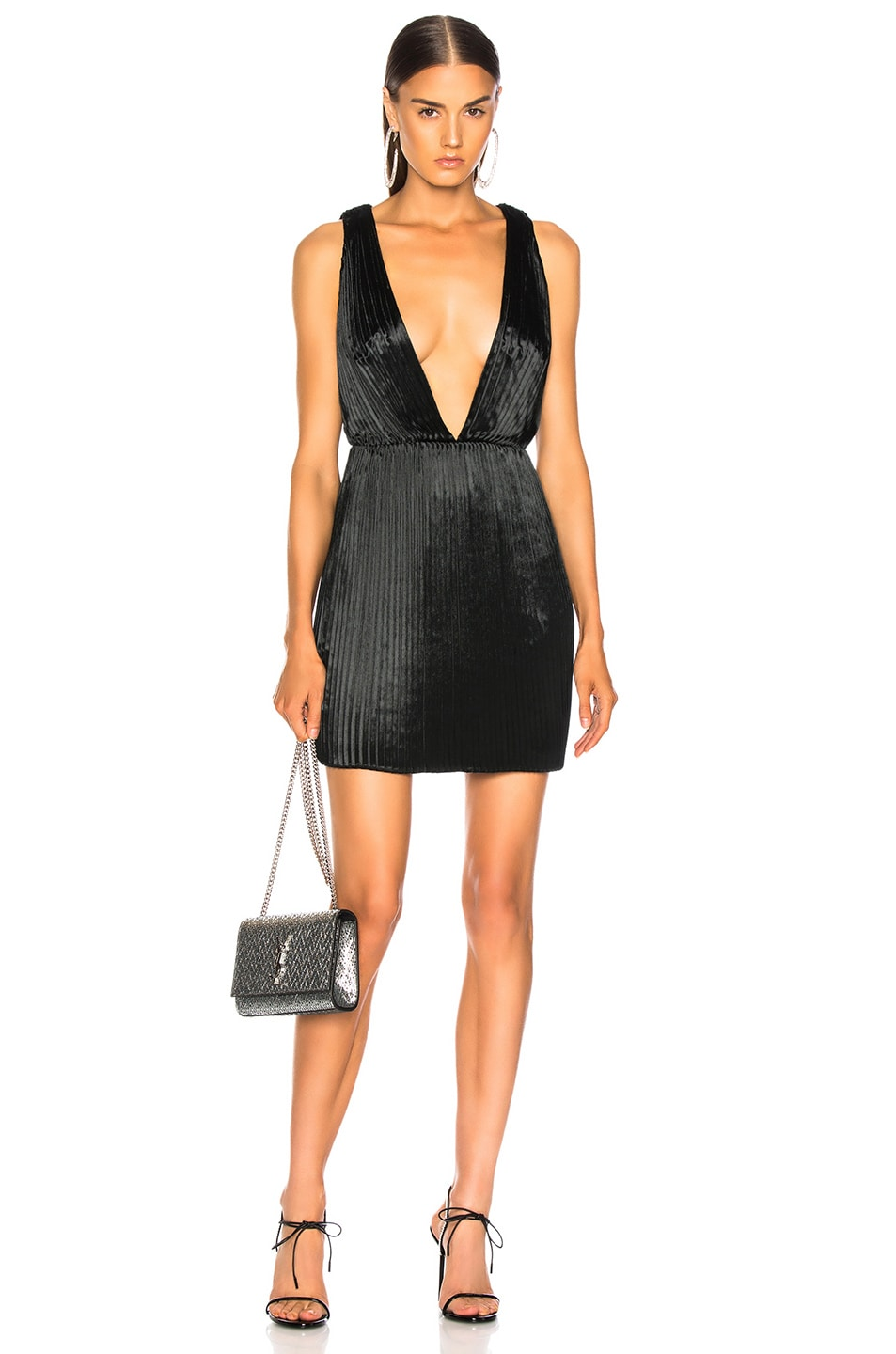 Image 1 of Saint Laurent Velvet Plunging Mini Dress in Black