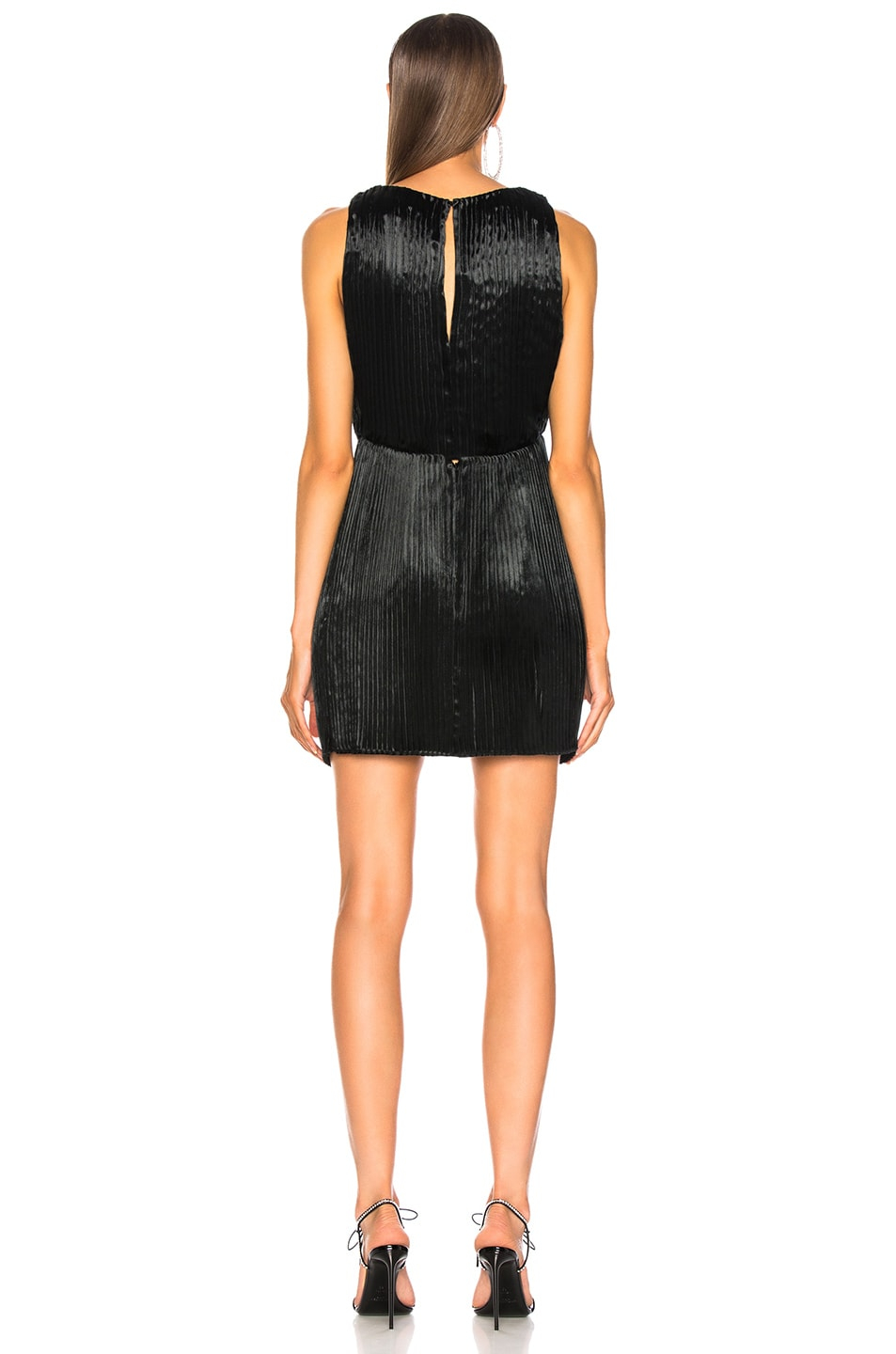 Image 3 of Saint Laurent Velvet Plunging Mini Dress in Black