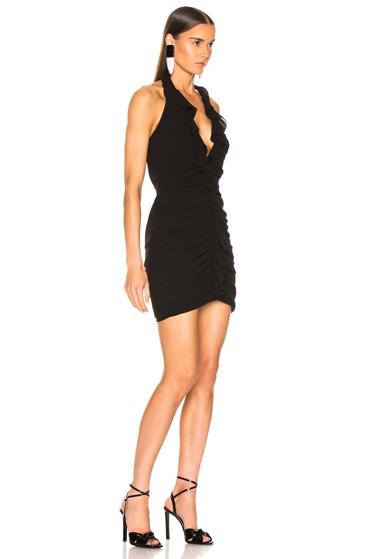 Image 2 of Saint Laurent Ruffle V Neck Mini Dress in Black