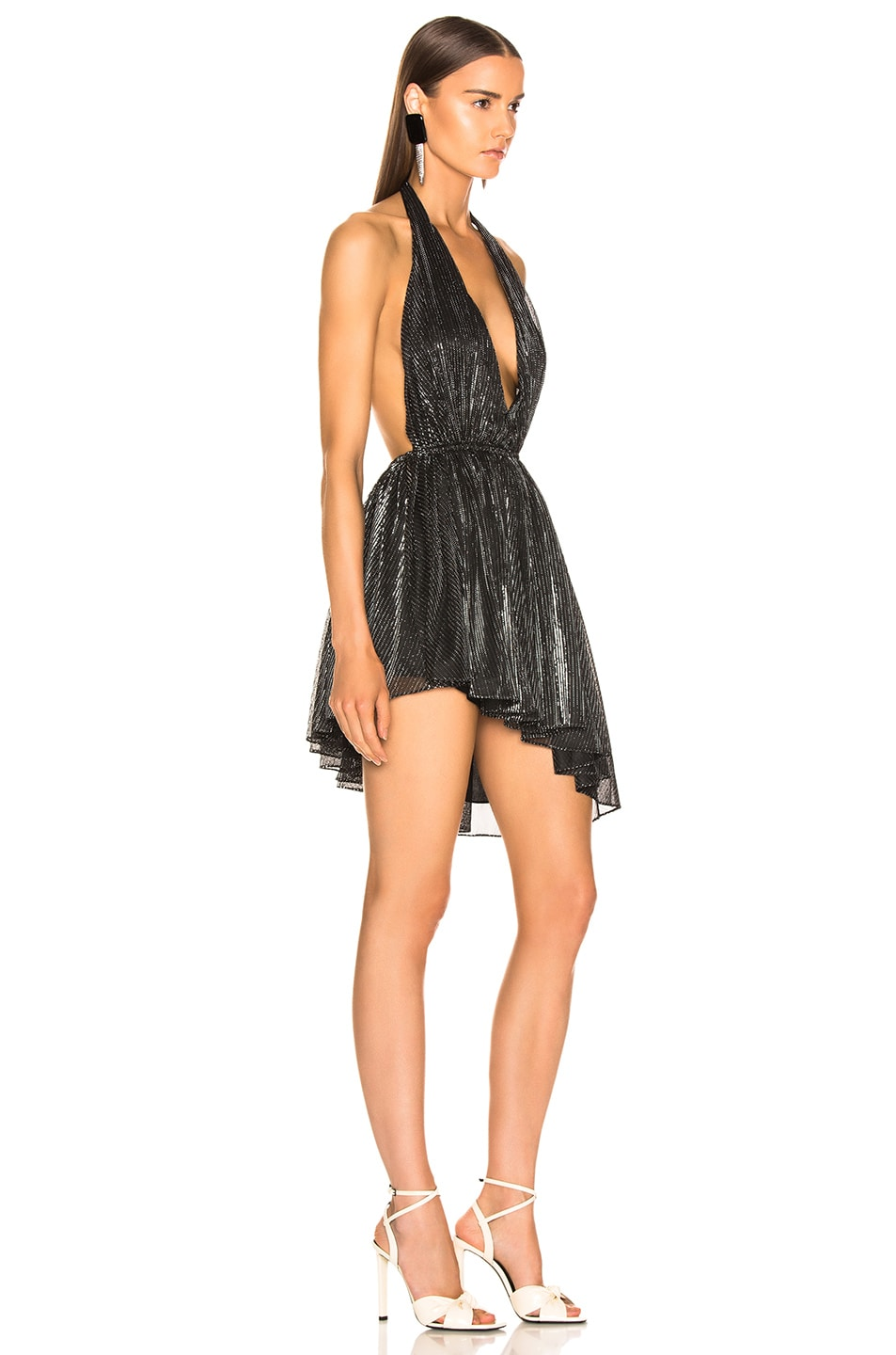 Image 2 of Saint Laurent Asymmetrical Plunging Mini Dress in Black & Silver
